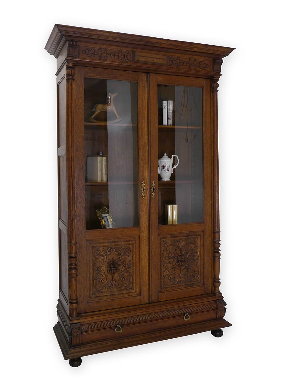 vitrine vitrinenschrank schrank gr nderzeit um 1880 eiche massiv 2963 ebay. Black Bedroom Furniture Sets. Home Design Ideas
