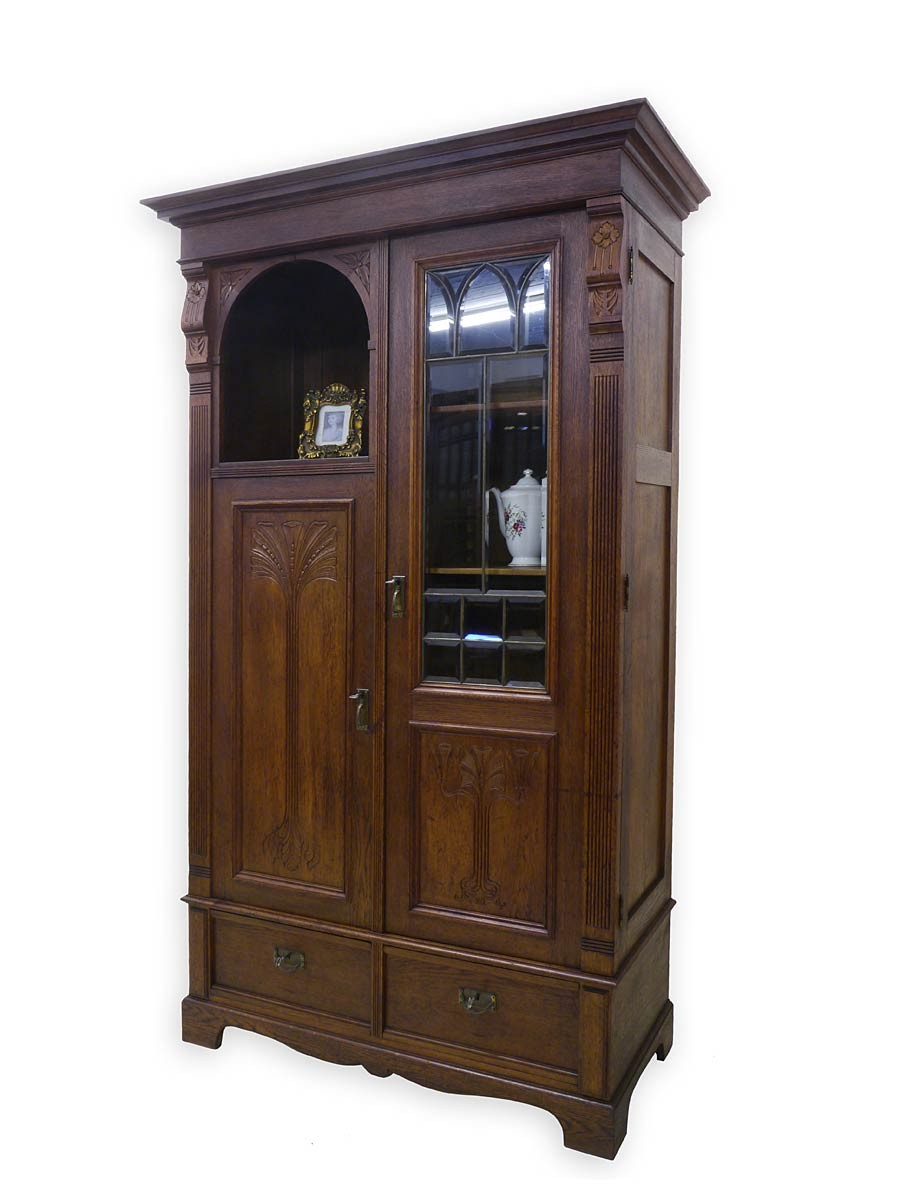 schrank vitrine vitrinenschrank jugendstil um 1900 eiche massiv 2971 ebay. Black Bedroom Furniture Sets. Home Design Ideas