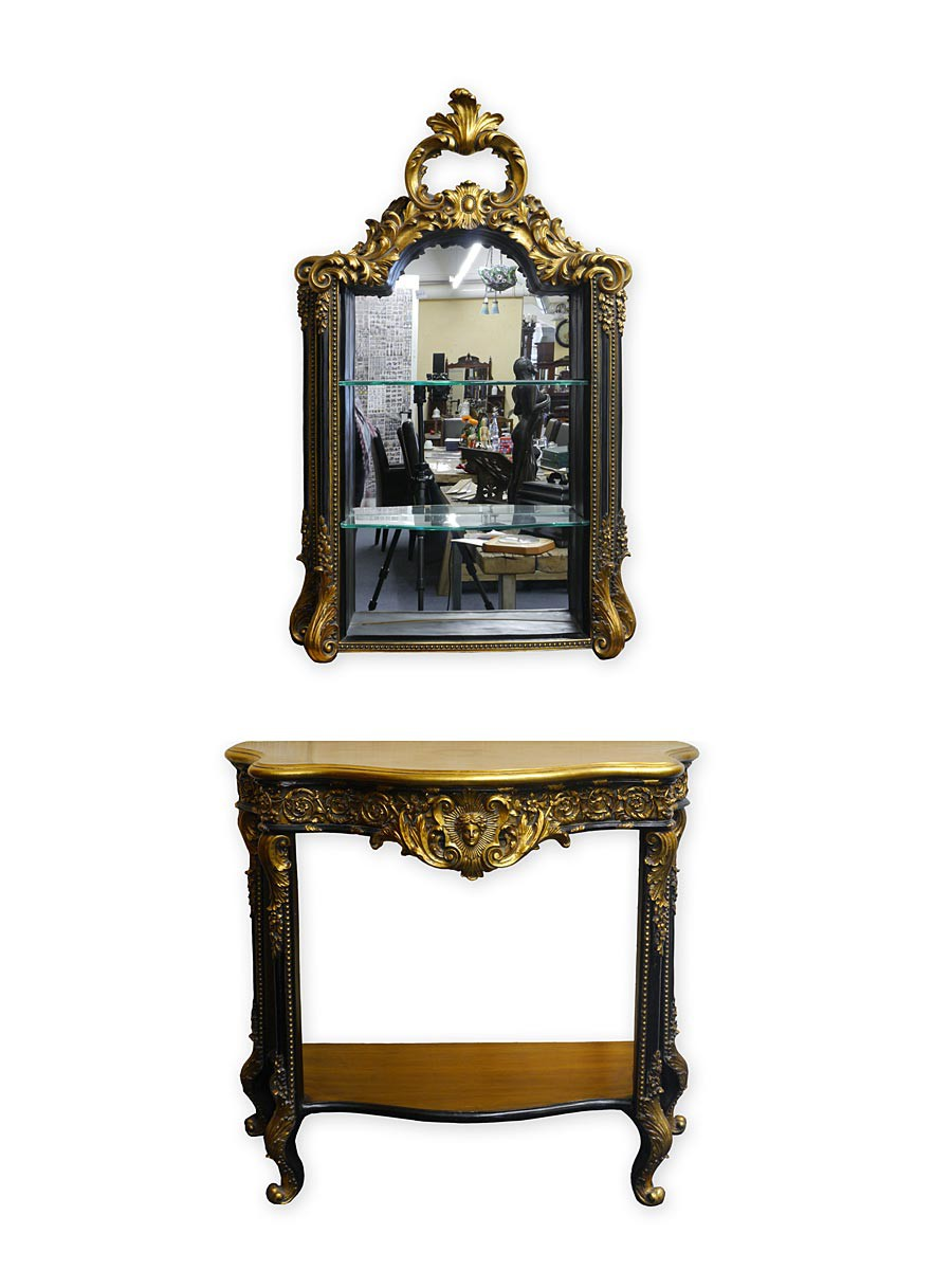 wandkonsole spiegel wandtisch barock stil schwarz gold farbig 2972 ebay. Black Bedroom Furniture Sets. Home Design Ideas