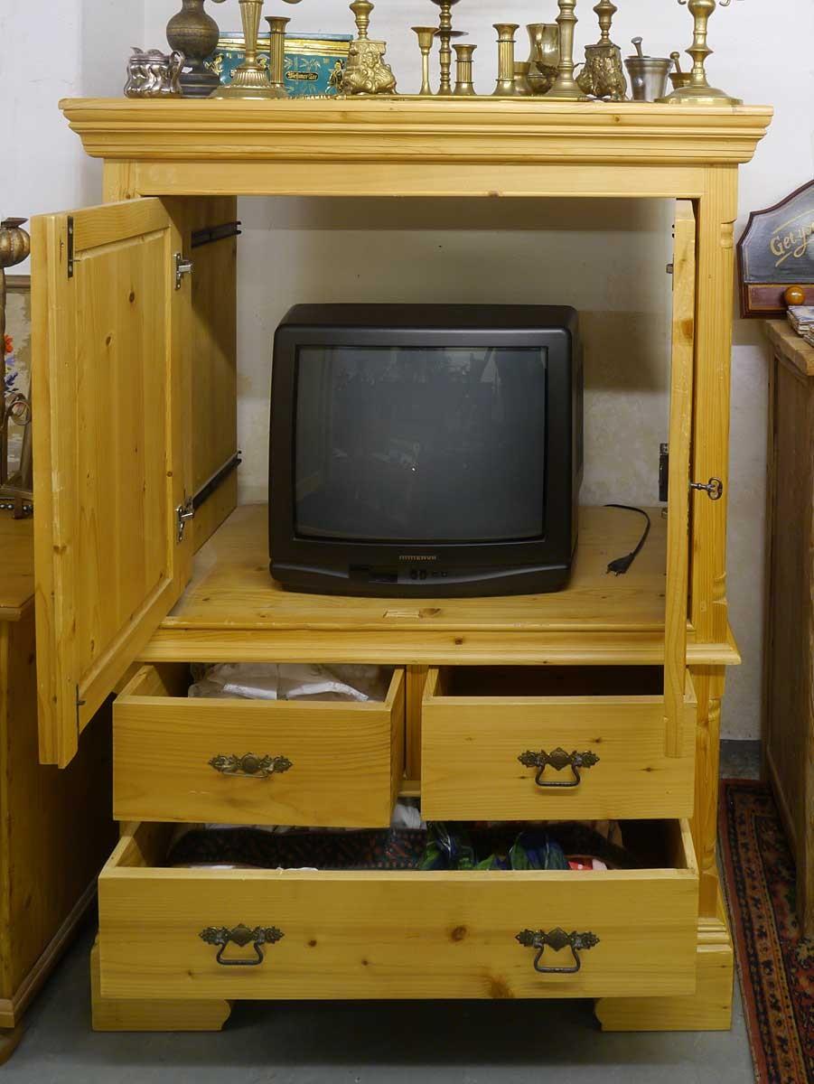 tv schrank medienschrank fernsehschrank weichholz antiken stil 2985 ebay. Black Bedroom Furniture Sets. Home Design Ideas