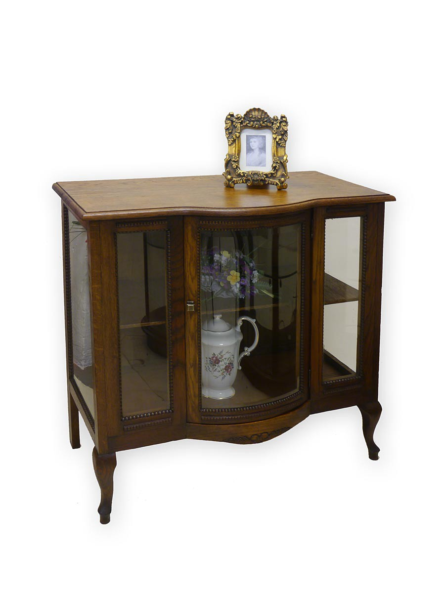 vitrine teecabinett barschrank antik um 1930 aus eiche 2993 ebay. Black Bedroom Furniture Sets. Home Design Ideas