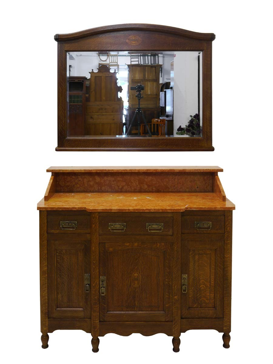 anrichte mit spiegel sideboard kommode art deco um 1920 eiche 2998 ebay. Black Bedroom Furniture Sets. Home Design Ideas