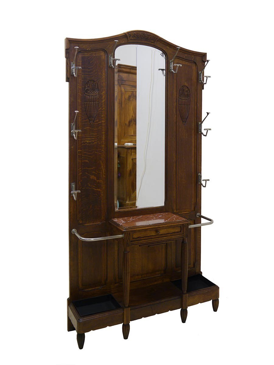 jugendstil garderobe antik um 1900 eiche ebay. Black Bedroom Furniture Sets. Home Design Ideas