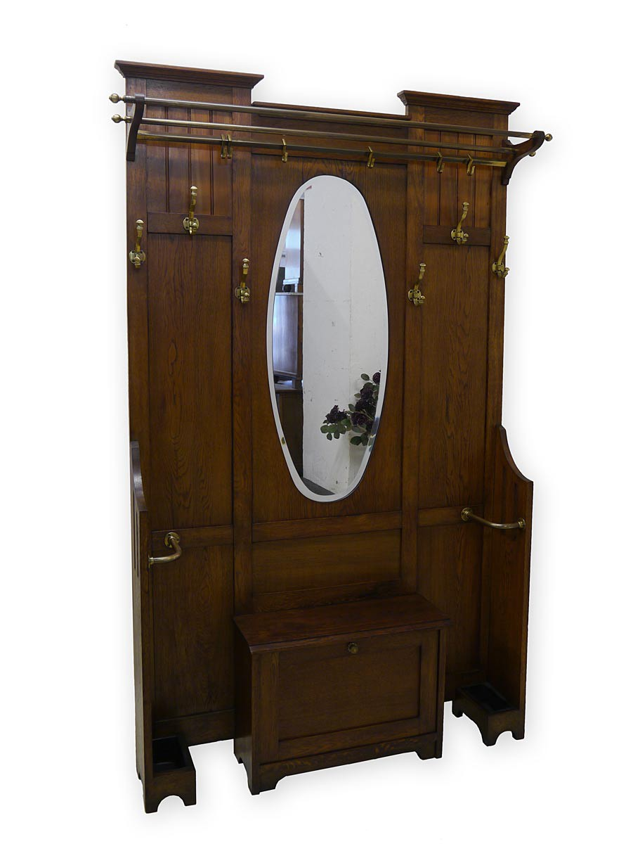 garderobe wandgarderobe flurgarderobe art deco um 1920 eiche 3005 ebay. Black Bedroom Furniture Sets. Home Design Ideas