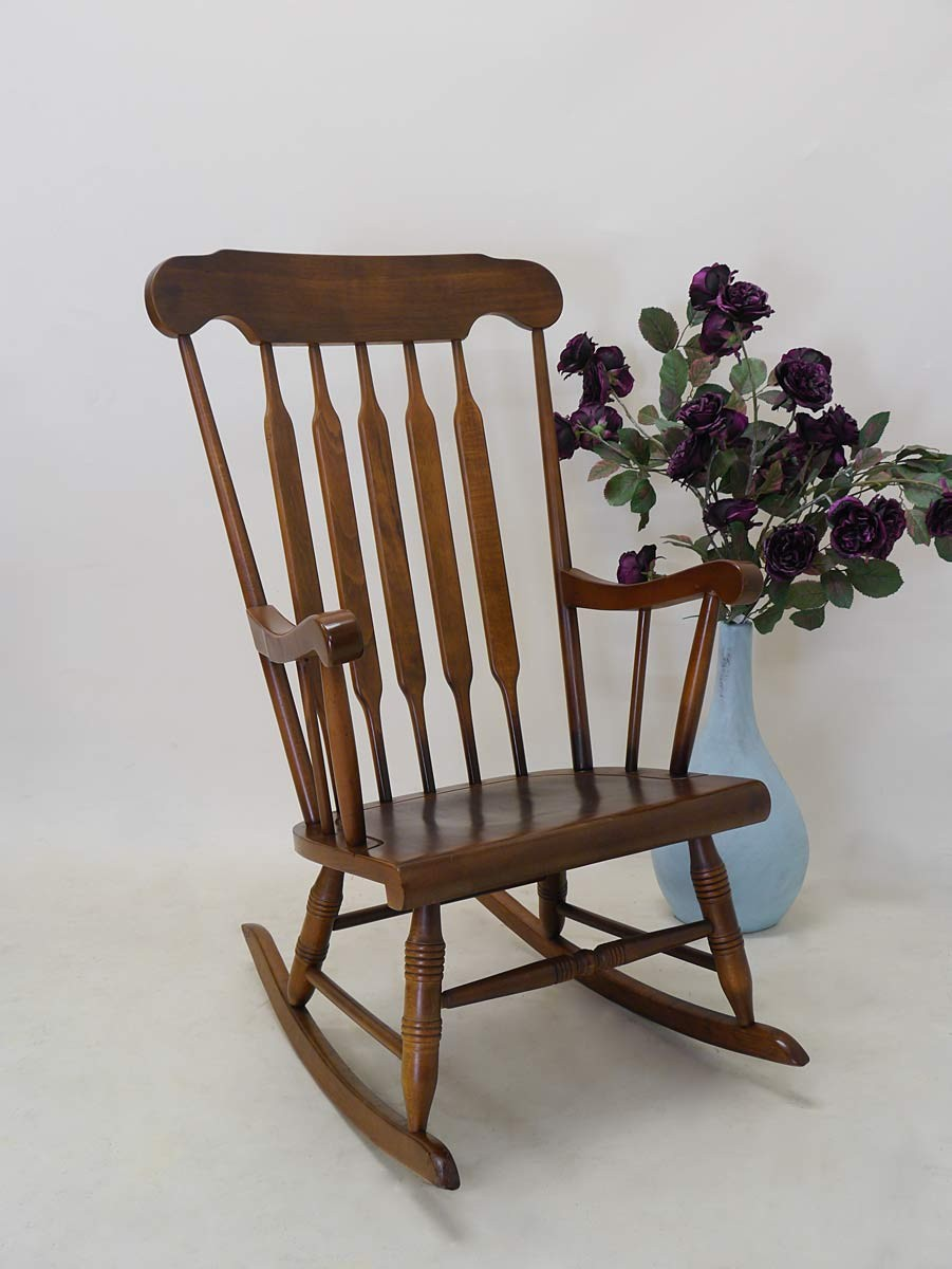 stuhl schaukelstuhl relaxsessel nussbaum massiv 3040 ebay