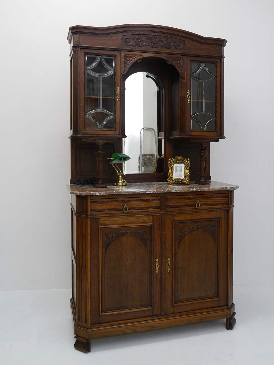 buffet k chenschrank buffetschrank antik um 1920 eiche. Black Bedroom Furniture Sets. Home Design Ideas