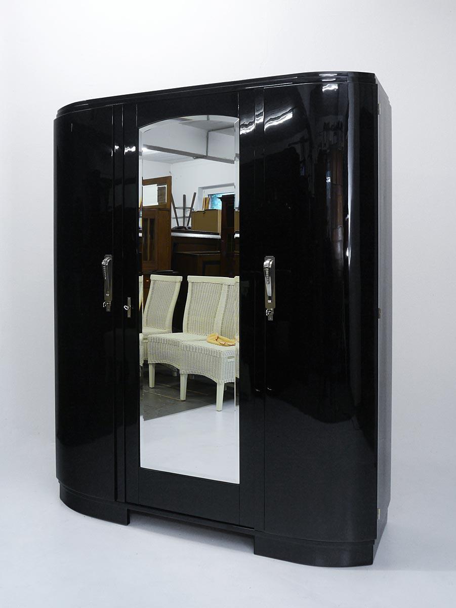 kleiderschrank schrank dielenschrank art deco um 1925 in schwarz 3066 ebay. Black Bedroom Furniture Sets. Home Design Ideas