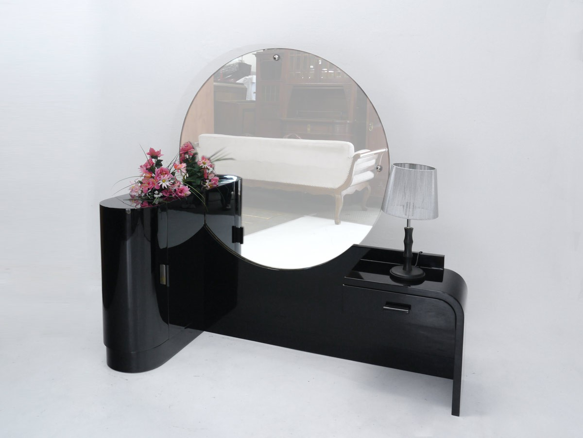 schminktisch frisiertisch coiffeuse art deco um 1930 schwarz hochgl nzend 3097 ebay. Black Bedroom Furniture Sets. Home Design Ideas