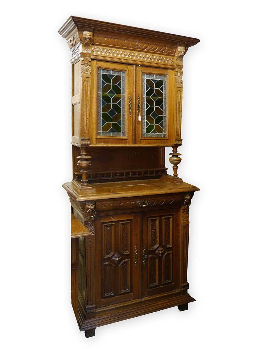 buffet k chenschrank buffetschrank antik gr nderzeit um 1880 eiche 3189 ebay. Black Bedroom Furniture Sets. Home Design Ideas