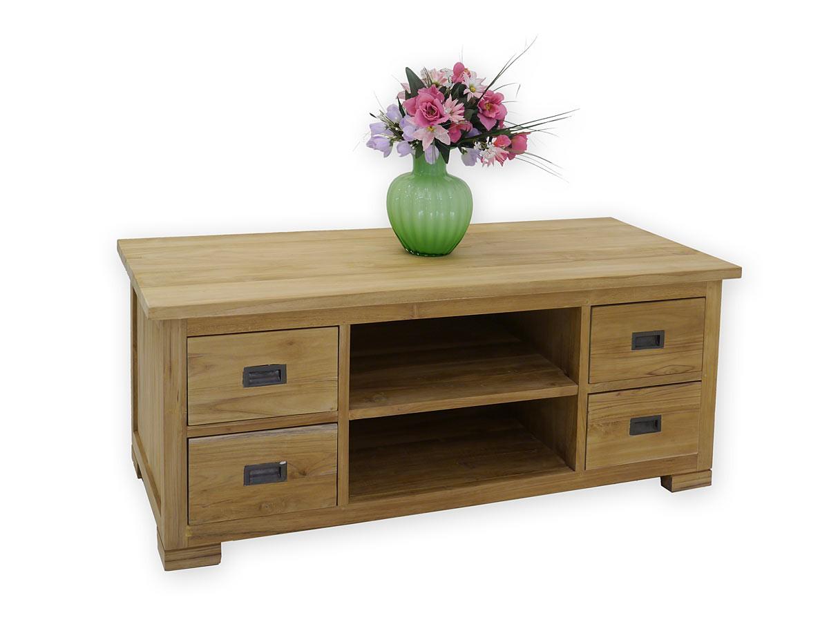 lowboard tv tisch kommode teakholz massiv unbehandelt 3196. Black Bedroom Furniture Sets. Home Design Ideas