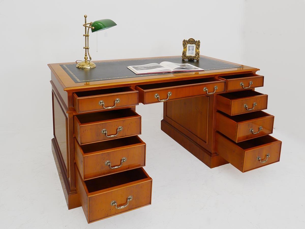 schreibtisch b rotisch b rom bel eibe im englischen stil echtlederauflage 3461. Black Bedroom Furniture Sets. Home Design Ideas