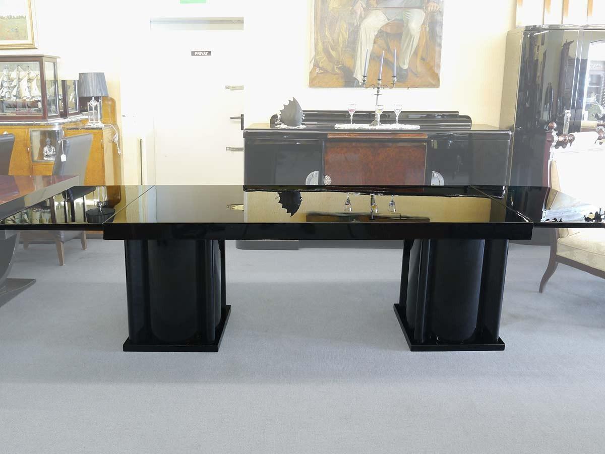 Tisch esstisch wohnzimmertisch art deco um 1925 schwarz hochglanz 3565 ebay - Esstisch schwarz hochglanz ...