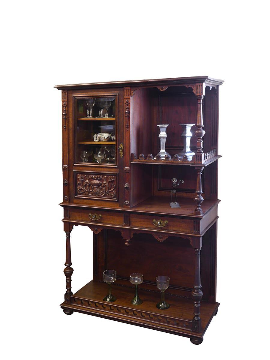 vitrine etagere zierschrank antik gr nderzeit um 1880 nussbaum 3615 ebay. Black Bedroom Furniture Sets. Home Design Ideas