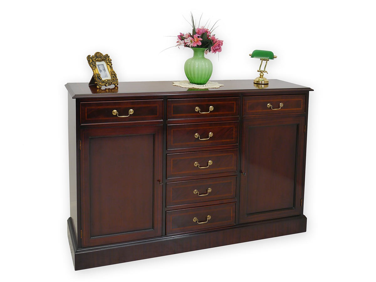 sideboard englischer stil mahagoni mit intarsien kommoden. Black Bedroom Furniture Sets. Home Design Ideas