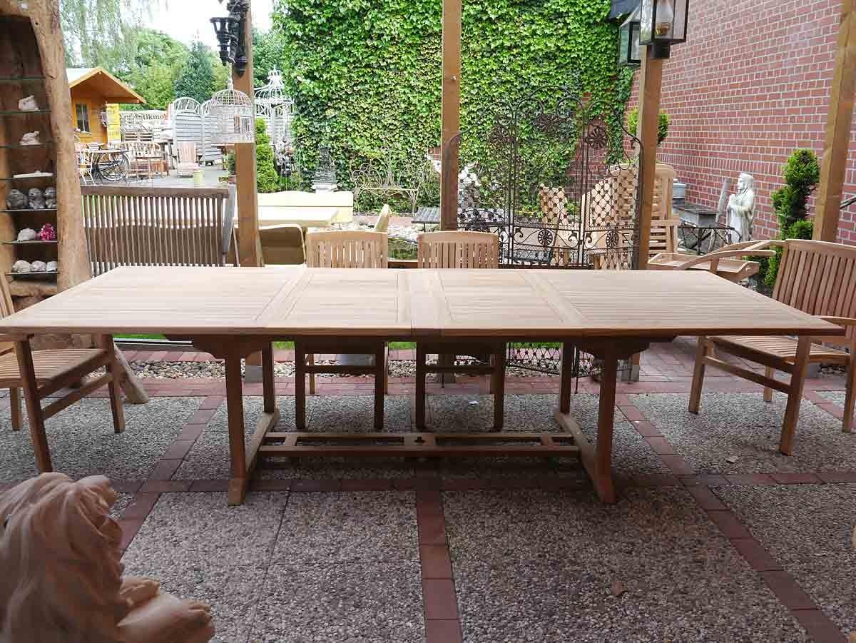 gartentisch tisch gartenm bel aus massivem teakholz ausziehbar 200 cm 3653 ebay. Black Bedroom Furniture Sets. Home Design Ideas