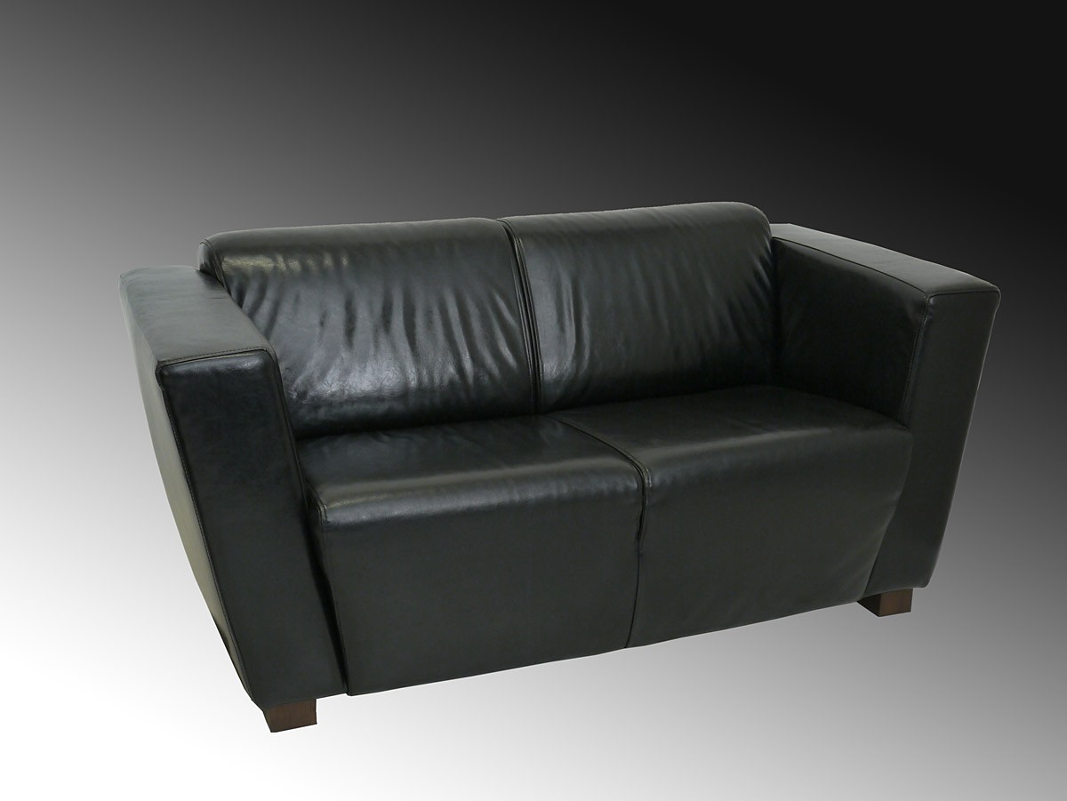 couch sofa ledersofa zweisitzer zeitloses design hoher sitzkomfort 3834 ebay. Black Bedroom Furniture Sets. Home Design Ideas