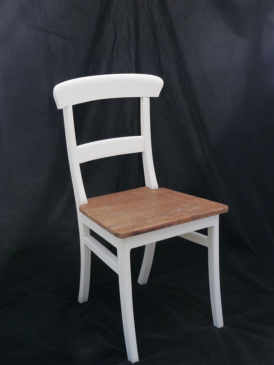 Stuhl Im Landhausstil Teakholz In Weiß Und Natur Sitzmöbel