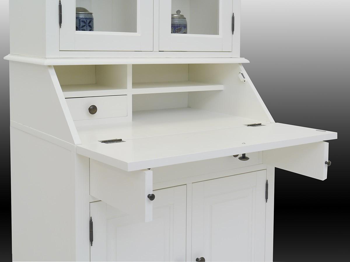 sekret r mit vitrinenaufsatz massivholz in wei schr nke. Black Bedroom Furniture Sets. Home Design Ideas