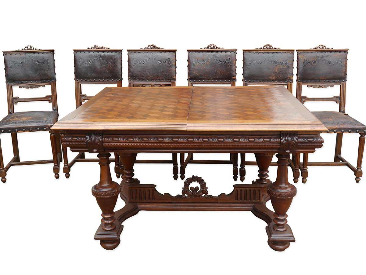 Essgruppe tischgruppe tisch 6 st hle antik gr nderzeit for Antike betten