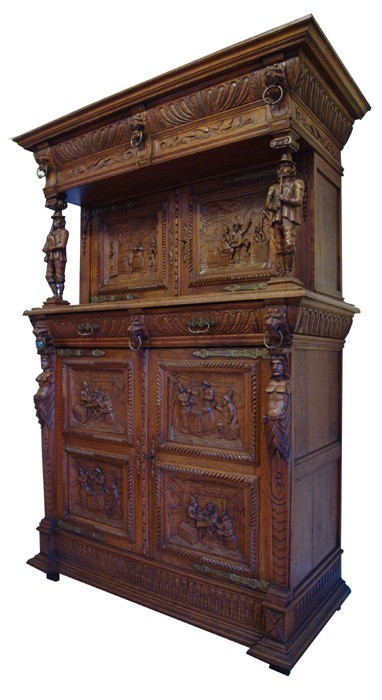 buffet kredenz historismus eiche massiv 1850 antik schrank antik 700 ebay. Black Bedroom Furniture Sets. Home Design Ideas
