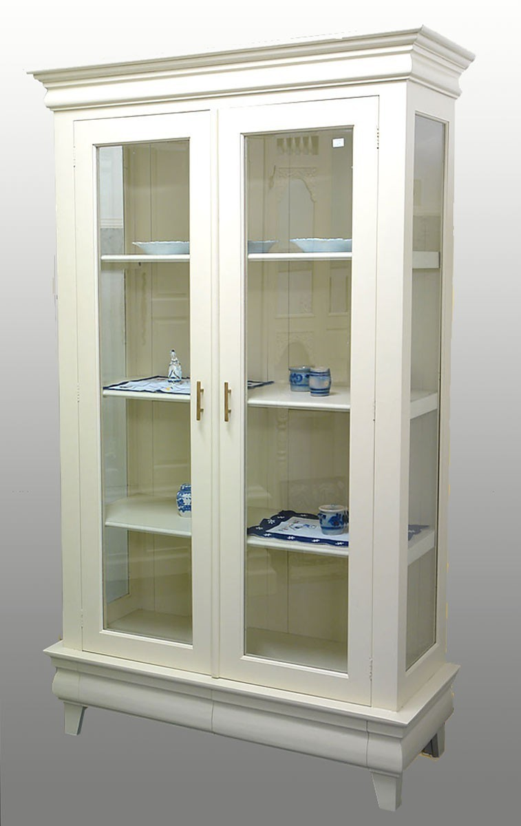 vitrine massivholz zweit rig creme wei schrank wie antik 737 ebay. Black Bedroom Furniture Sets. Home Design Ideas