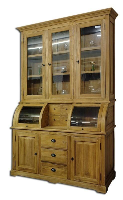 vitrinenschrank im landhausstil teakholz massiv schr nke. Black Bedroom Furniture Sets. Home Design Ideas