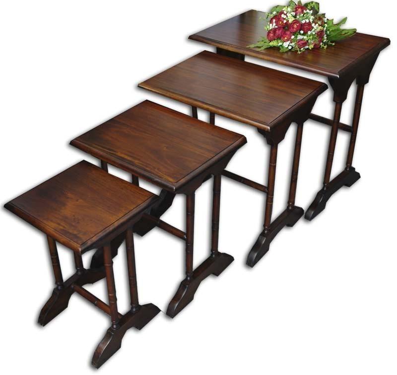tische beistelltische 4er set massivholz antik stil 878. Black Bedroom Furniture Sets. Home Design Ideas