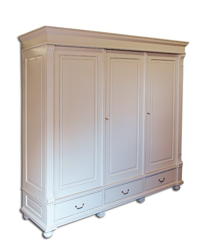 schrank kleiderschrank weichholz shabby chic in cremewei. Black Bedroom Furniture Sets. Home Design Ideas