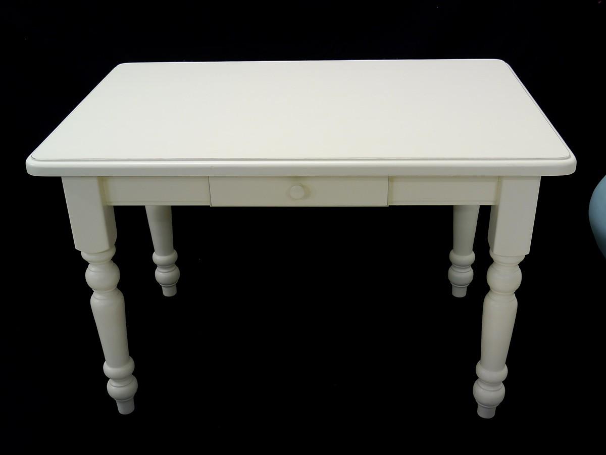 Tisch Esstisch Küchentisch cremeweiß mit Schublade Antik ...